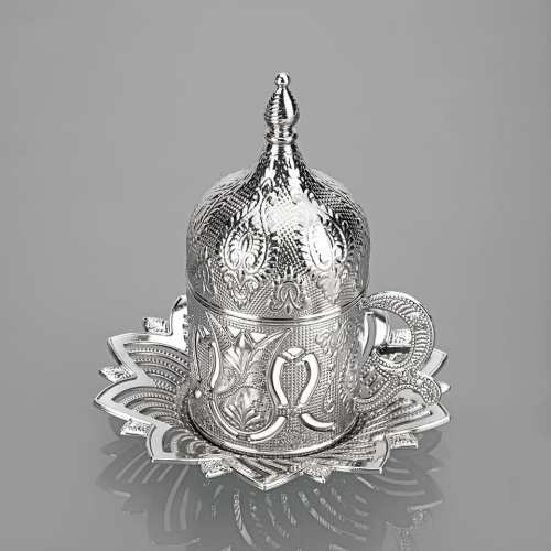 Busem Silver Color Coffee Set For Six Person