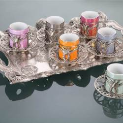 Colorful Tulip Design Silver Color Coffee Cups Set With Tray