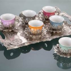 Colorful Tulip Design Silver Color Coffee Set With Tray