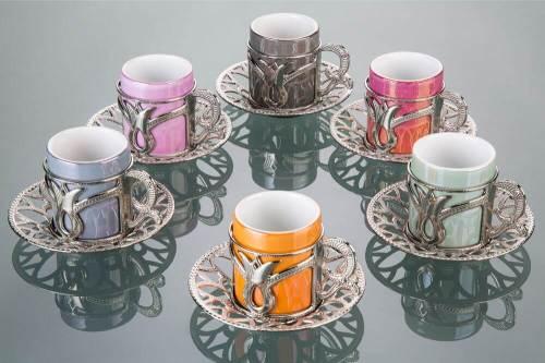 Colorful Tulip Design Silver Color Coffee Cups Set