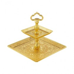 Two Tier Gold Color Cookie Serving Tray