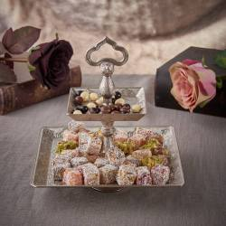 Two Tier Silver Color Cookie Serving Tray