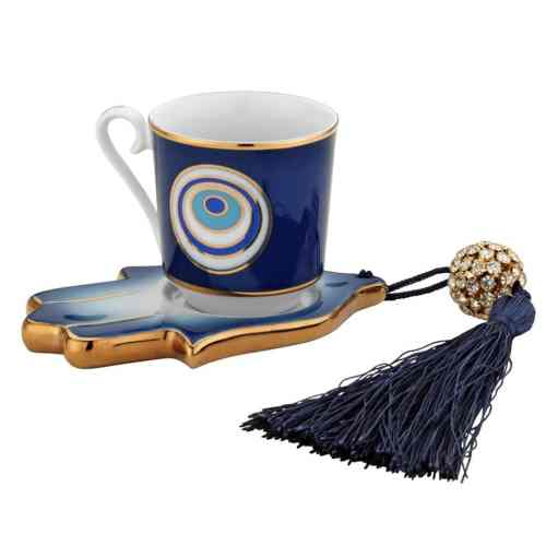 Evil Eye And Hamsa Hand Turkish Coffee Set For One Person