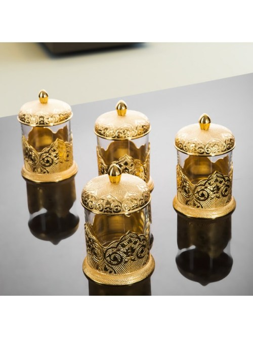 Gold Color Middle Eastern Spice Set For Four