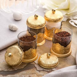Gold Color Authentic Spice Jar Set For Four