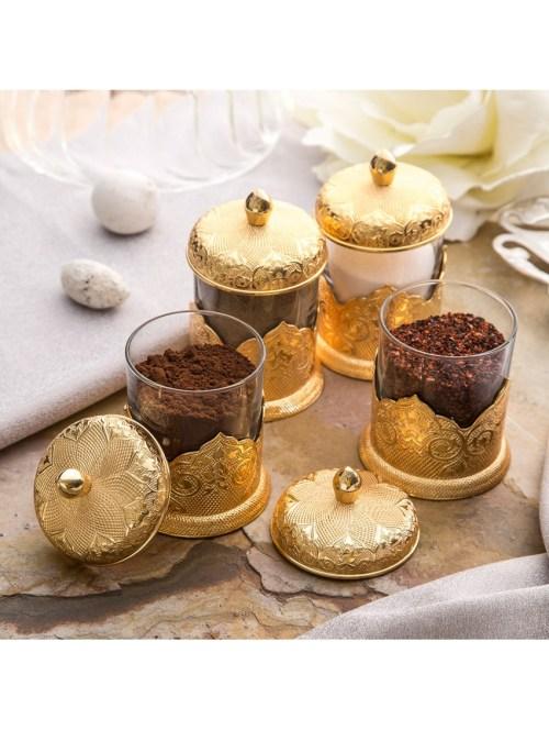 Gold Color Authentic Spice Jar Set For Four