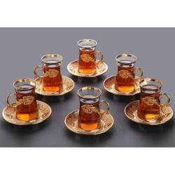 Gold Color Safa Tea Cups Set For 6 Person
