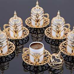 Gold Color Turkish Coffee Cups Tulip Design For Six Person
