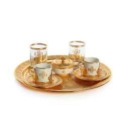 Gold Color Espresso Coffee Set For Two With Glasses