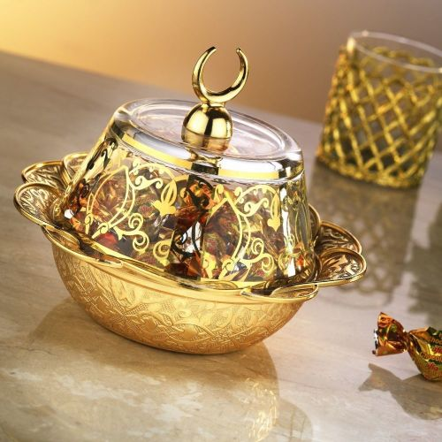 Gold Colour Ottoman Style Snack Bowl With Glass Lid