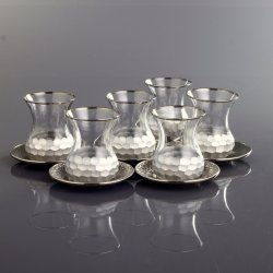 Silver Color Honeycomb Patterned Turkish Tea Glass Set