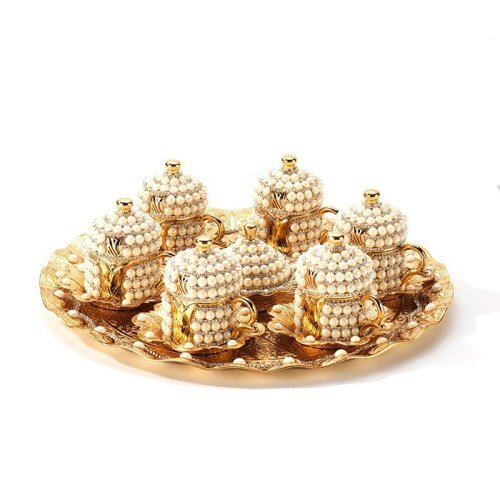 Gold Color Pearl Coated Coffee Cup Set With Tray