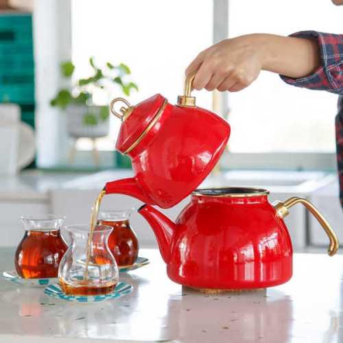 Red Color Glory Enamel Turkish Tea Pot Kettle