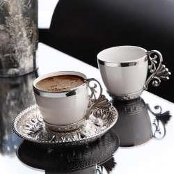 Silver Color Cream Porcelain Coffee Set