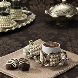 Silver Color Pearl Coated Unique Coffee Cups Set