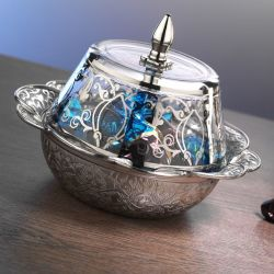 Silver Plated Turkish Snack Bowl With Glass Lid
