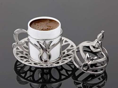 Silver Turkish Coffee Cups Tulip Design Six Pieces