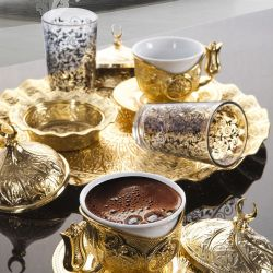 Gold Color Tiryaki Turkish Coffee Set For Two Person With Glasses