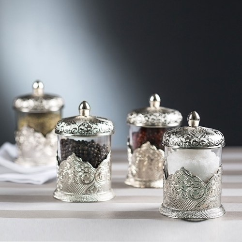 Silver Color Authentic Spice Set For Four