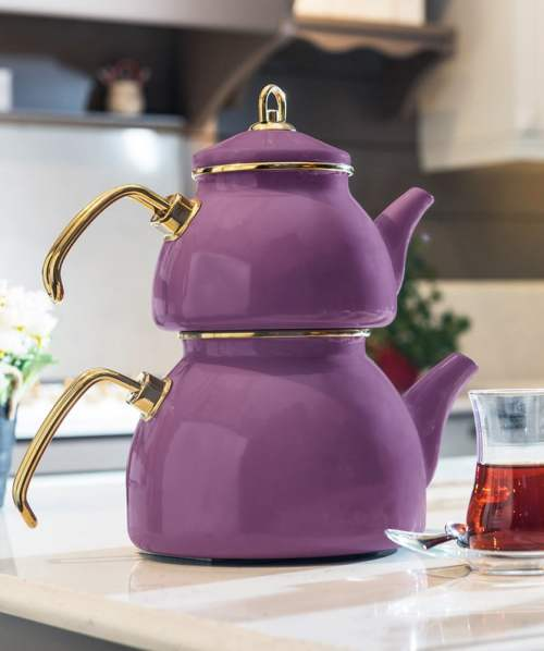 Purple Color Glory Enamel Turkish Tea Pot Kettle