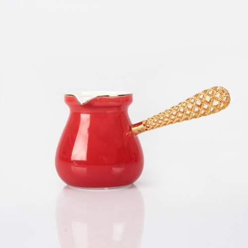 Red Color Telkari Porcelain Turkish Coffee Pot