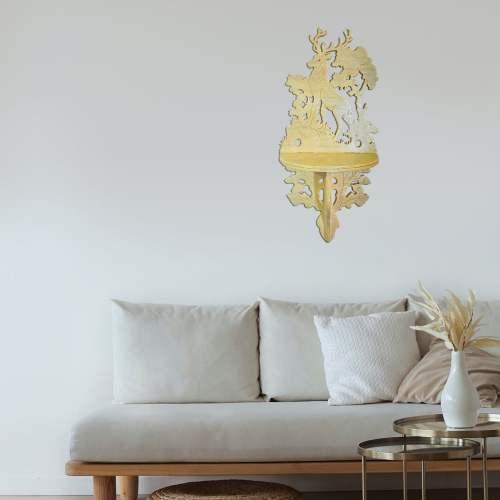 Decorative Wood Shelf with Deer, 100% Handmade, Poplar Tree