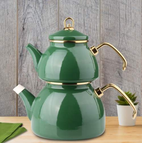 Green Color Glory Enamel Turkish Tea Pot Kettle