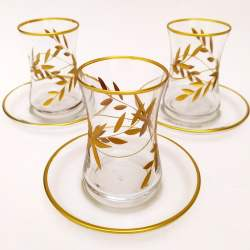 Gold Gilded Flower Pattern Turkish Tea Set
