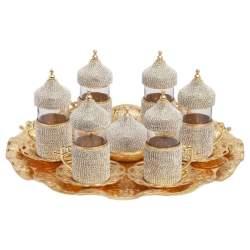 Swarovski Stone Coated Unique Gold Tea Glasses Set