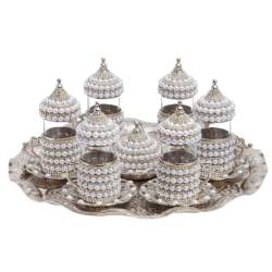 Pearl Stone Coated Unique Silver Tea Glasses Set