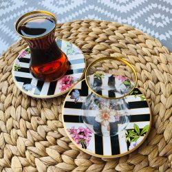 12 Pcs Bougainvillea Turkish Tea Glass Set