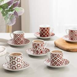 12 Pcs Mira Porcelain Turkish Coffee Set