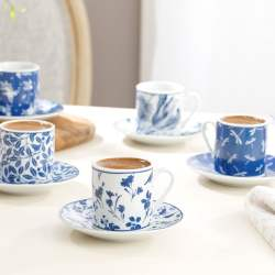 12 Pcs Bella Porcelain Turkish Coffee Set
