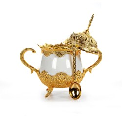 Gold Color Luxury Porcelain Sugar Bowl with Lid and Spoon