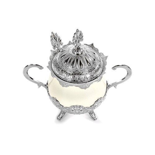 Silver Color Luxury Porcelain Sugar Bowl with Lid and Spoon