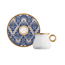12 Pcs Glazze Mirage Blue Porcelain Luxury Coffee Set