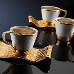 Luxury Gold Color Turkish Coffee Cup Set For Six Person