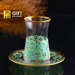 12 Pcs Pasabahce Agra Turquoise Turkish Tea Set For Six Person