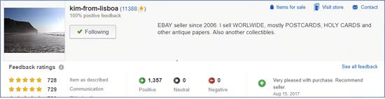 Ebay listado del vendedor de tarjetas postales