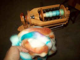 spot dyed moreno wool on Kromski Sonata wheel