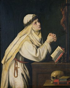 XMN175261 St. Catherine of Siena (1347-80) after a painting by Francisco Zurbaran (1598-1664) (oil on canvas) by Allori, Cristofano (1577-1621); Musee de Picardie, Amiens, France; Giraudon; REPRODUCTION PERMISSION REQUIRED; Italian, out of copyright PLEASE NOTE: The Bridgeman Art Library works with the owner of this image to clear permission. If you wish to reproduce this image, please inform us so we can clear permission for you.