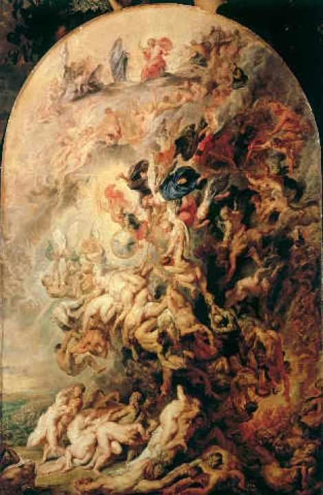 2-R42-Q20-1620-10 P.P. Rubens, Das Kleine Juengste Gericht Rubens, Peter Paul 1577-1640. 'Das Kleine Juengste Gericht', um 1620. Oel auf Eichenholz, 183 x 120 cm. Muenchen, Alte Pinakothek. E: P.P. Rubens, The Day of Judgement c.1620 Rubens, Peter Paul 1577-1640. 'The Day of Judgement', c. 1620. Oil on oak-wood, 183 x 120cm. Munich, Alte Pinakothek.