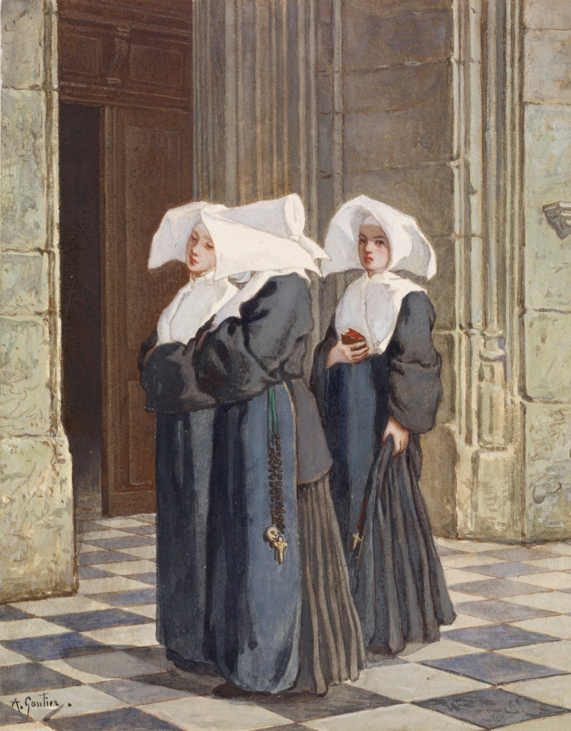 Armand_Gautier_-_Three_Nuns_in_the_Portal_of_a_Church_-_Walters_371383