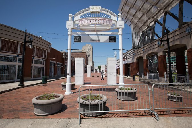 An entrance to the street-level stores, many of which are closed, at Underground Atlanta. Credit Kevin Liles for The New York Times