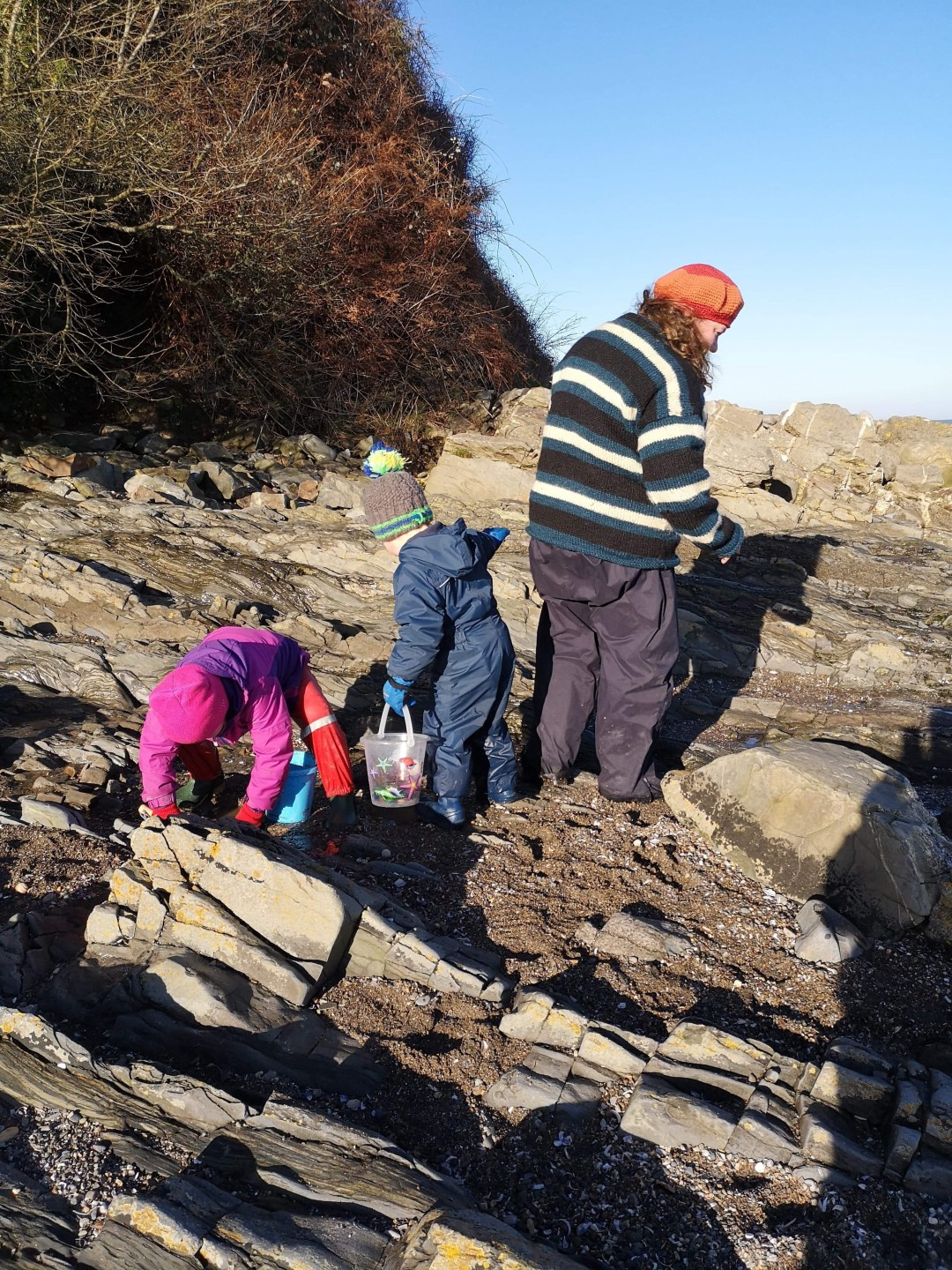 rockpooling in winter