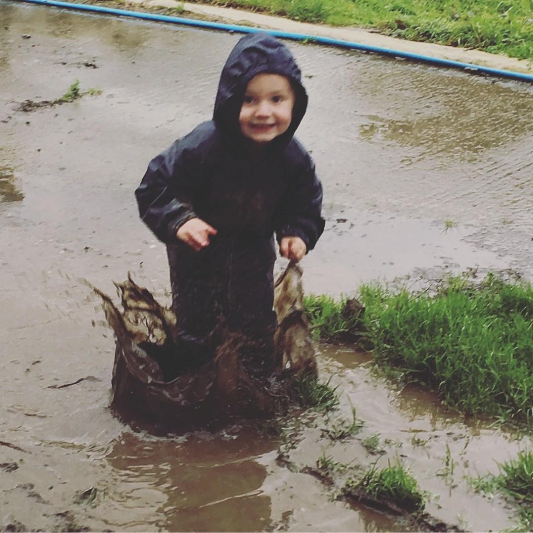 muddy puddle jumping