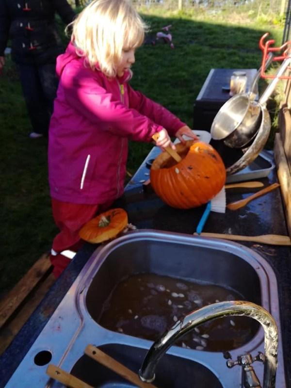 pumpkin mud kitchen