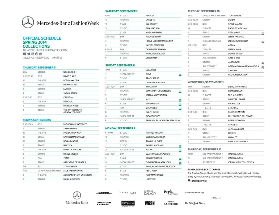 schedule nyfw sept 2013