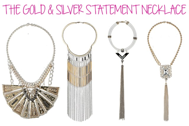 gold & silver necklace fall