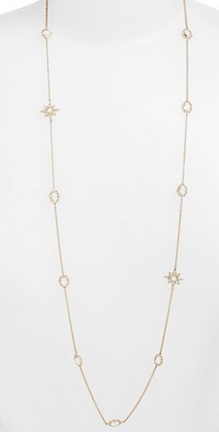 DRAW DROP - LONG TOPAZ AND DIAMOND STATION NECKLACE